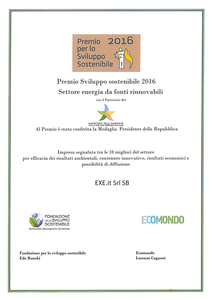 Premio per lo sviluppo sostenibile 2016