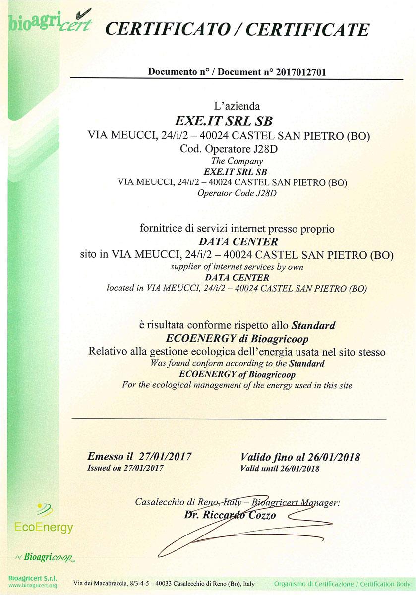 Conforme allo Standard ECOENERGY di Bioagricoop - 2017