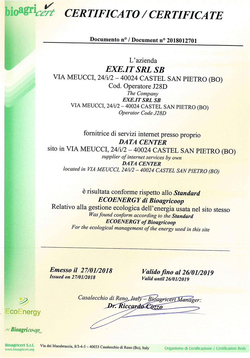 Conforme allo Standard ECOENERGY di Bioagricoop - 2018