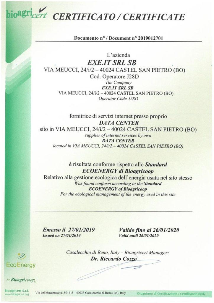 Conforme allo Standard ECOENERGY di Bioagricoop - 2019