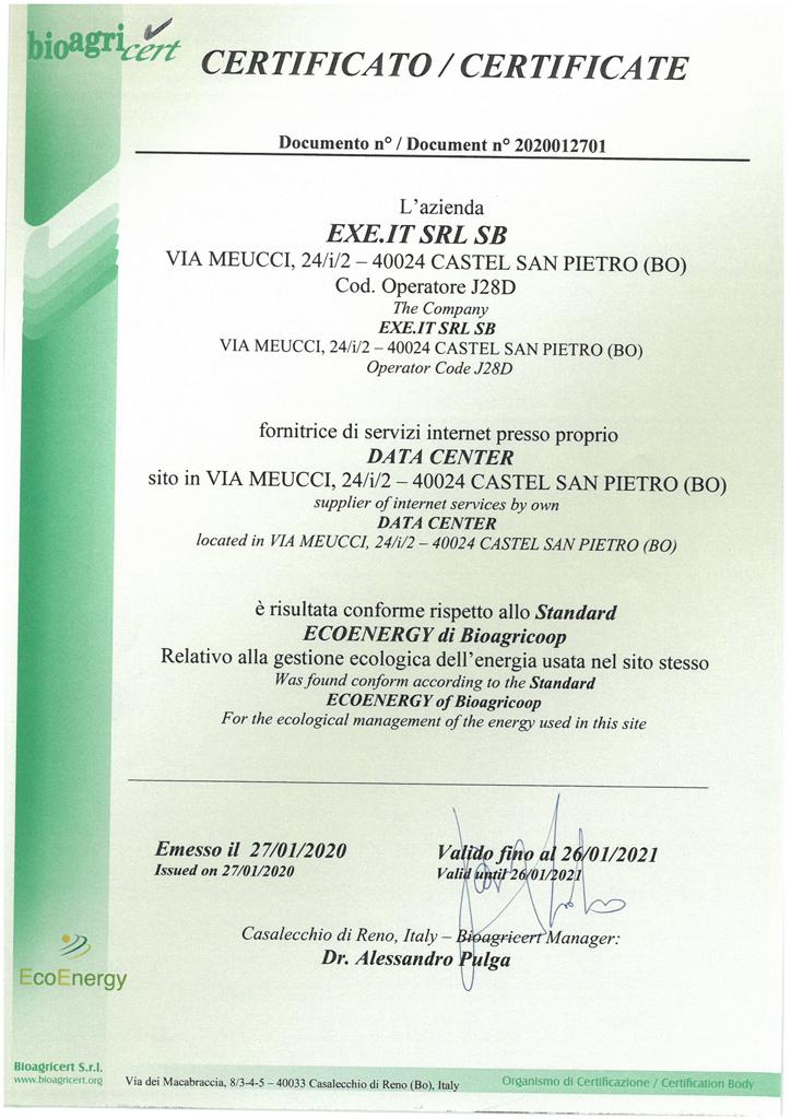 Conforme allo Standard ECOENERGY di Bioagricoop - 2020