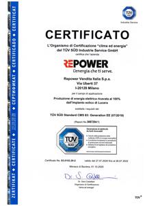 Certificazione TUV RePower - 2019